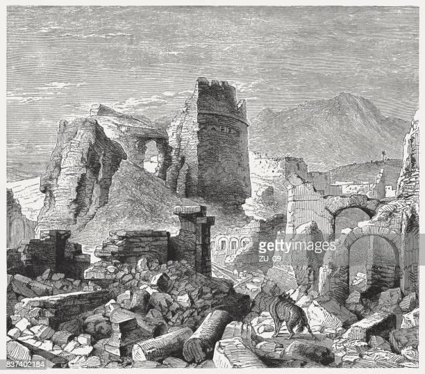 ruins of samaria (isaiah 9, 8-10), wood engraving, published 1886 - old ruin stock illustrations