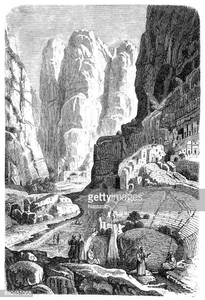 ruins of selah (petra) - jordan middle east stock illustrations, clip art, cartoons, & icons