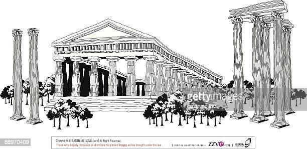 ruins of temples - pediment stock illustrations, clip art, cartoons, & icons