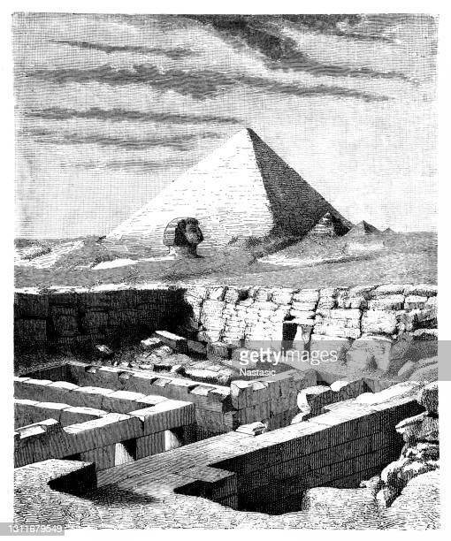 ruins of the he valley temple of chephren (khafre), near the great sphinx of giza, egypt - archaeology stock illustrations