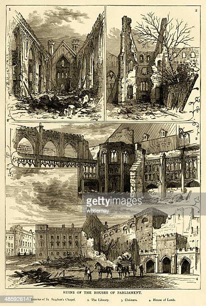 Ruins of the Houses of Parliament after the fire, 1834