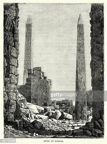 ruins of the karnak temple complex - thebes egypt stock illustrations