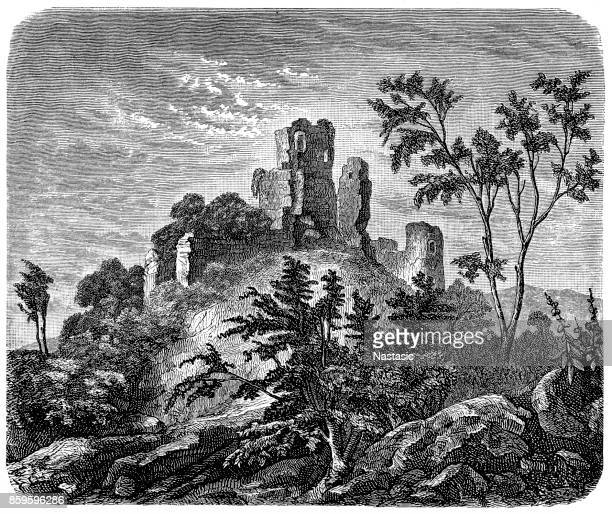 ruins of the norman castle of robert the devil - normandy stock illustrations, clip art, cartoons, & icons