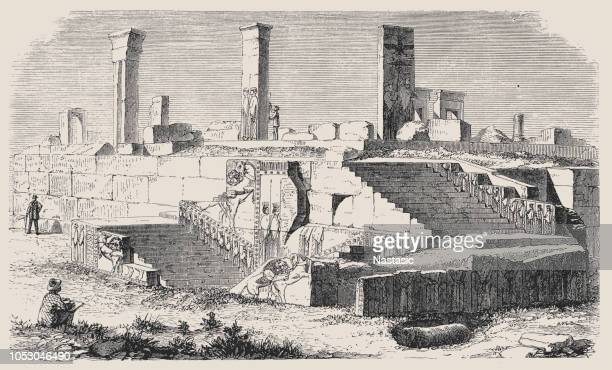 ruins of the palace of xerxes in persepolis, iran - persepolis stock illustrations