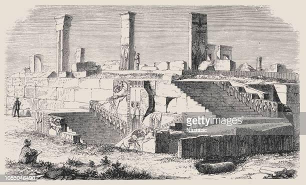 ruinen des palastes von xerxes in persepolis, iran - iran persepolis stock-grafiken, -clipart, -cartoons und -symbole