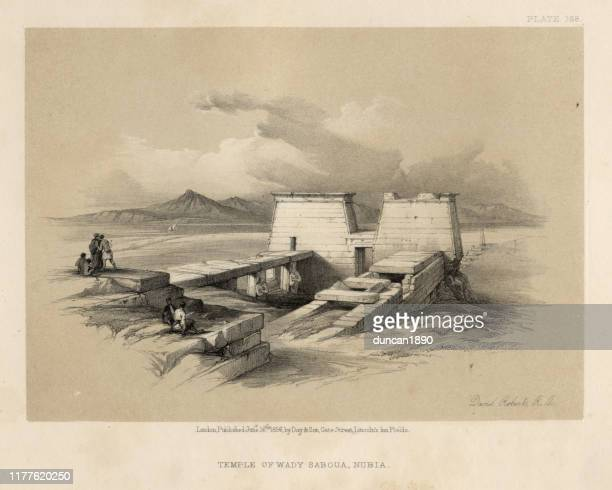 ruins of the temple of wady saboua, nubia, 19th century - nubia stock illustrations, clip art, cartoons, & icons