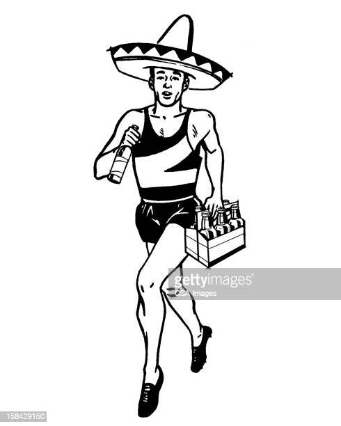 runner wearing sombrero and holding beer - sombrero stock illustrations