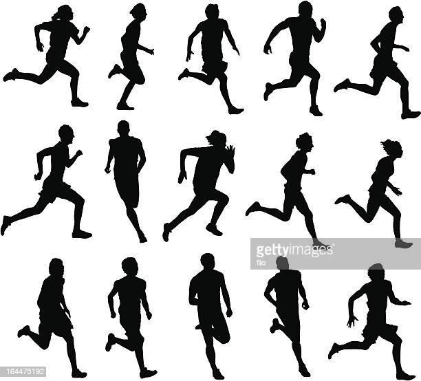 runners - athlete stock illustrations