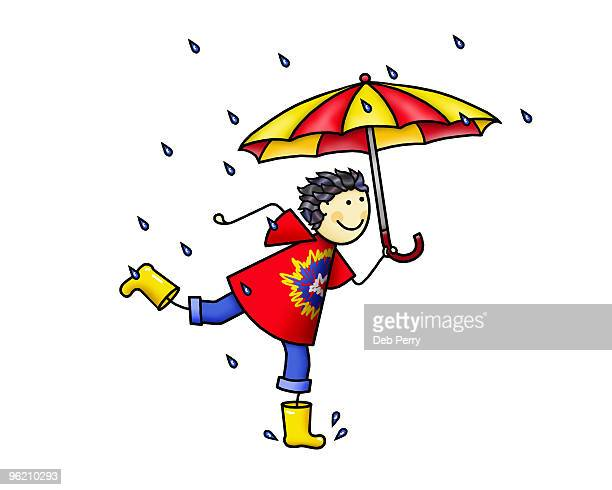 running in the rain - rain stock illustrations