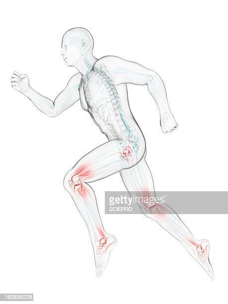 ilustraciones, imágenes clip art, dibujos animados e iconos de stock de running injuries, conceptual artwork - esprint pruebas en pista