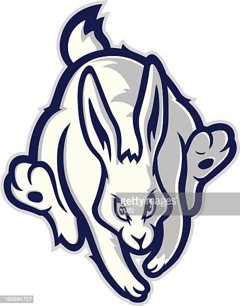 Running rabbit mascot