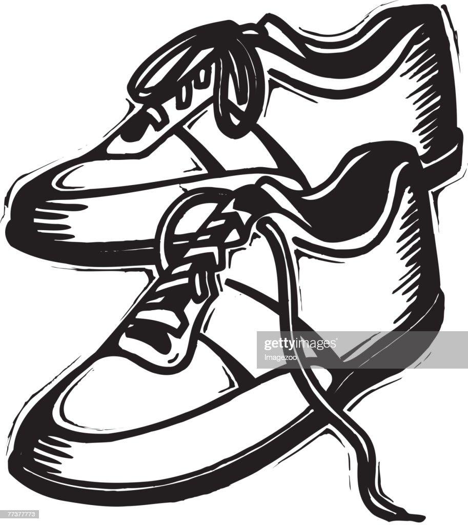 running shoes b&w : Illustration
