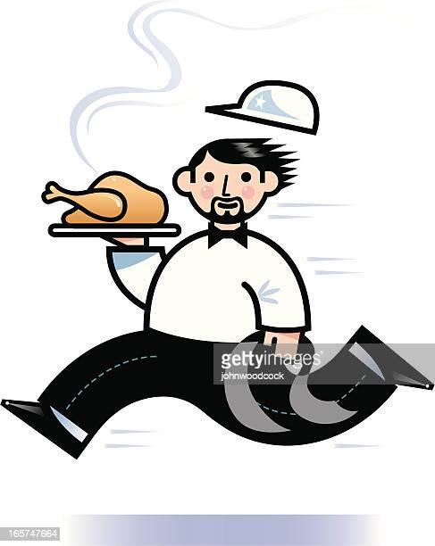 ilustraciones, imágenes clip art, dibujos animados e iconos de stock de camarero de funcionamiento - pollo asado