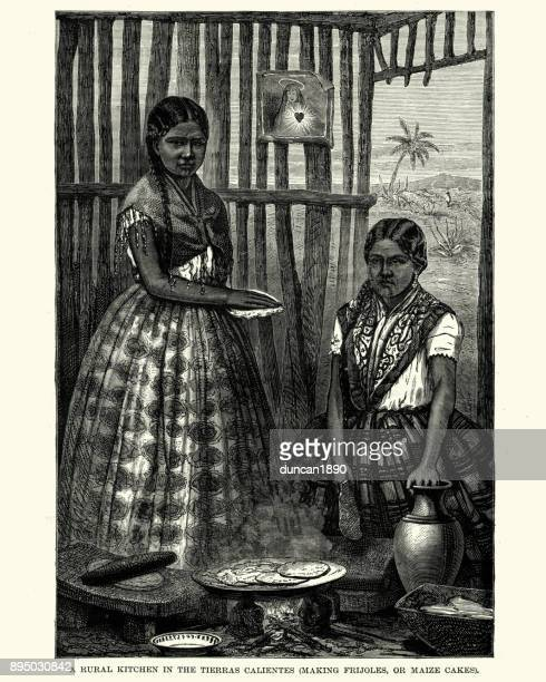 rural kitchen, tierra caliente, mexico, 19th century - mexican food stock illustrations, clip art, cartoons, & icons