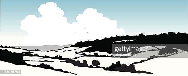 rural landscape - rolling landscape stock illustrations