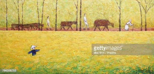 Rural landscape painting
