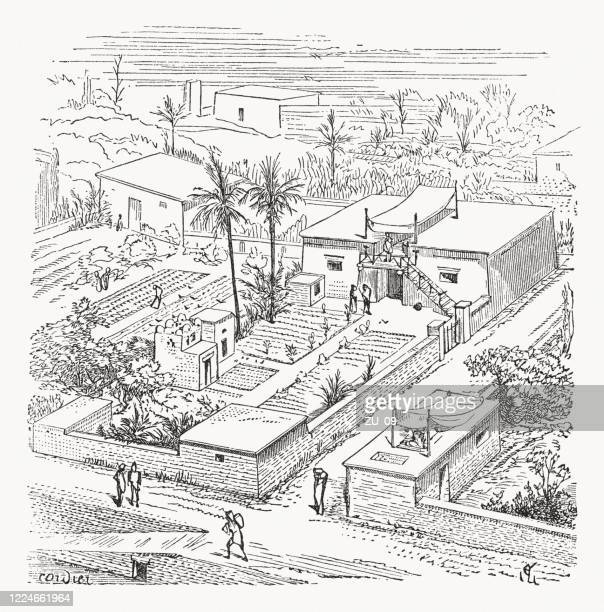 rural residential house in ancient egypt, wood engraving, published 1893 - ancient stock illustrations