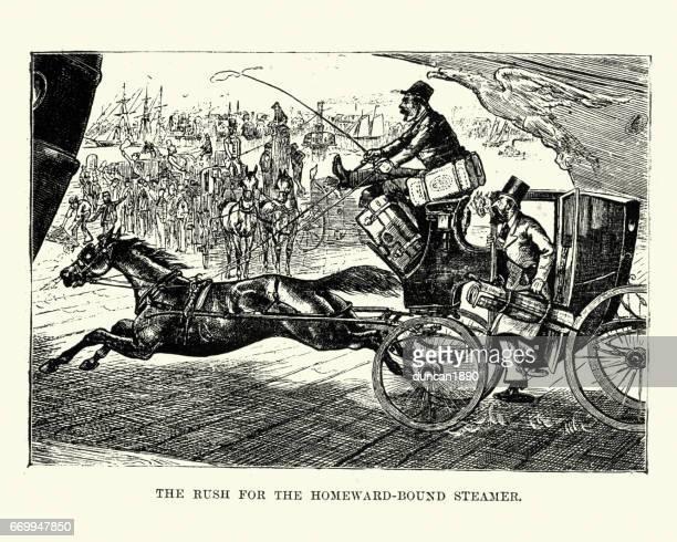 ilustraciones, imágenes clip art, dibujos animados e iconos de stock de rush para la homeward bound vapor, siglo xix - taxista