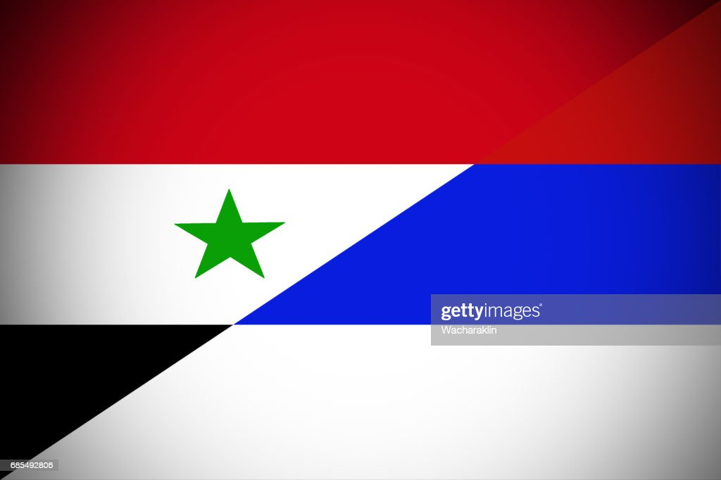 Russia And Syria Flag National Flag 3d Illustration Symbol Stock