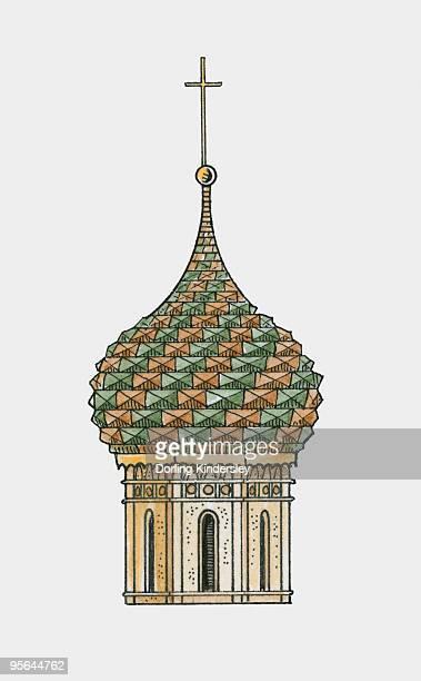 ilustrações, clipart, desenhos animados e ícones de russia, moscow, cathedral of saint basil the blessed, ornate onion dome - cúpula estilo russo