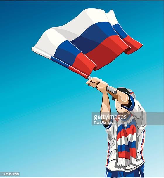 ilustrações, clipart, desenhos animados e ícones de acenando a bandeira fã de futebol da rússia - cultura russa