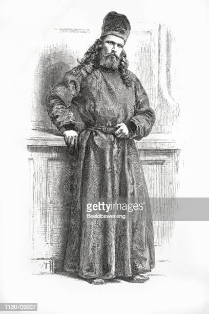 russian captain and monk illustration 1873 'the earth and her people' - religious dress stock illustrations, clip art, cartoons, & icons