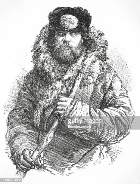 russian coach driver illustration 1873 'the earth and her people' - fur hat stock illustrations