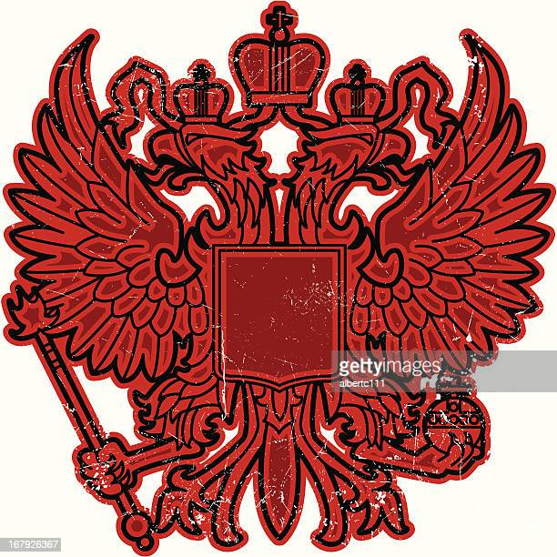 russian double headed eagle graphic - russia stock illustrations