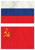 Russian falg and old USSR flag
