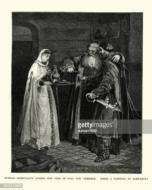 russian hospitality during the time of ivan the terrible - vodka stock illustrations, clip art, cartoons, & icons