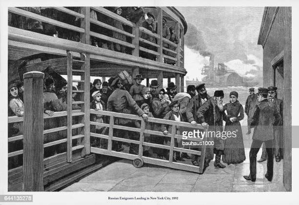 russian immigrants landing in new york city, 1892 engraving - disembarking stock illustrations