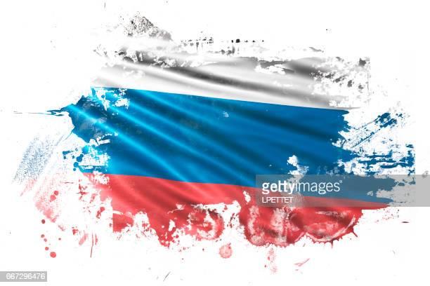 ilustrações, clipart, desenhos animados e ícones de bandeira do grunge tinta russo - cultura russa