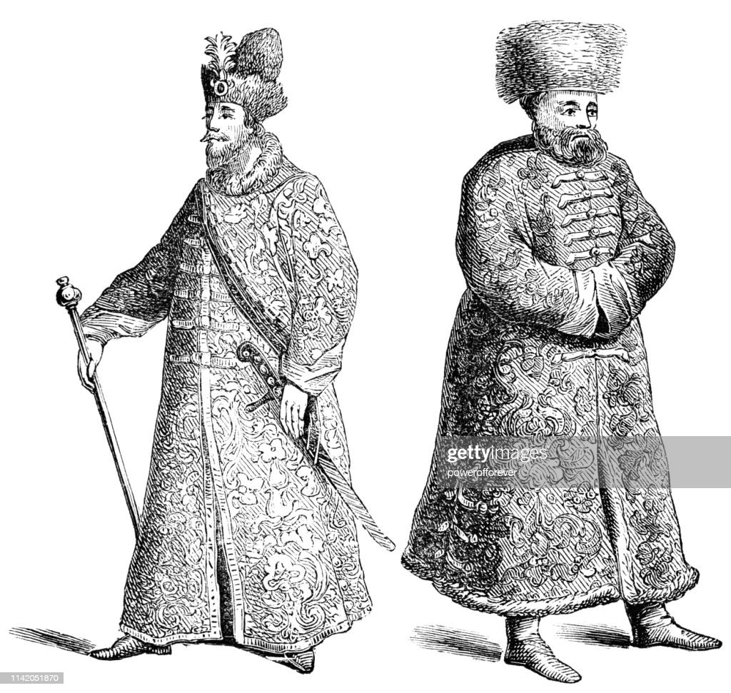Russian Men's Fashion of the 16th Century : stock illustration