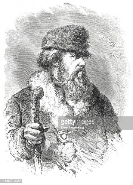 Russian ship pilot  with beard and fur hat illustration 1873 'the Earth and her People'