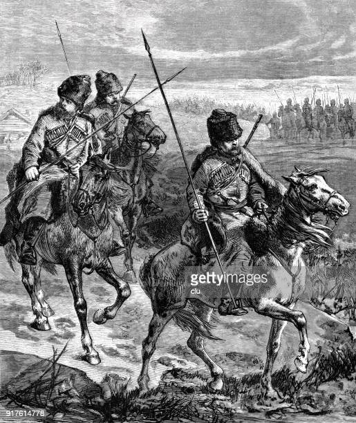 russian soldiers riding during the crimea war - 1877 stock illustrations, clip art, cartoons, & icons