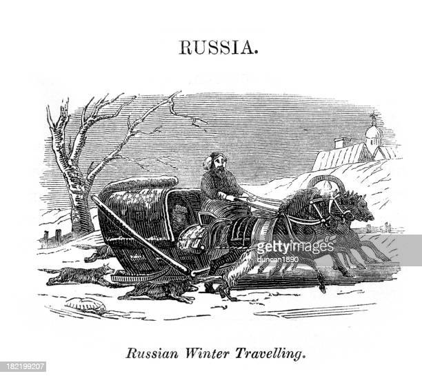 russian winter travelling sledge - horsedrawn stock illustrations, clip art, cartoons, & icons