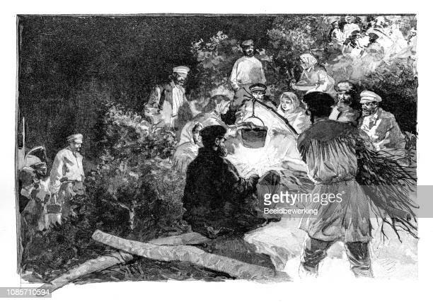 Russians preparing food in the forest illustration 1895 'the Earth and her People'