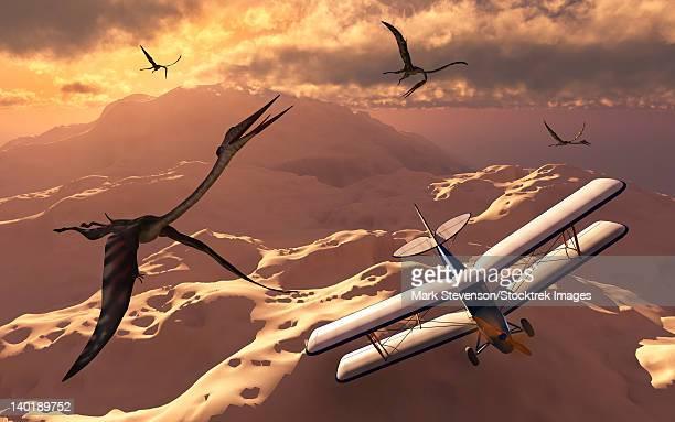A 1930's Tiger Moth biplane passes through a flock of prehistoric Quetzalcoatlus pterosaurs.