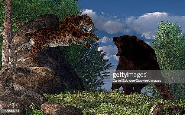 A saber-toothed cat leaps at a grizzly bear on a mountain path.