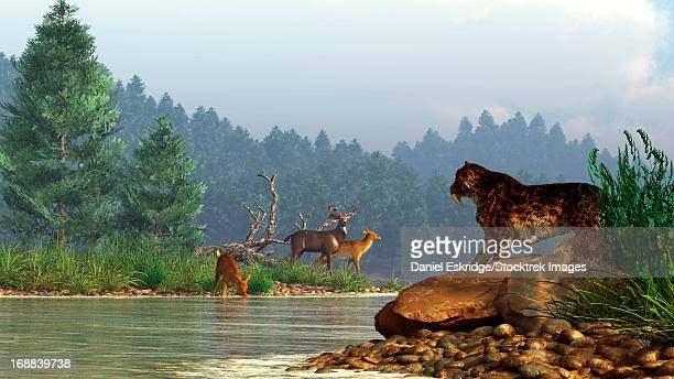 A saber-toothed cat looks across a river at a family of deer.