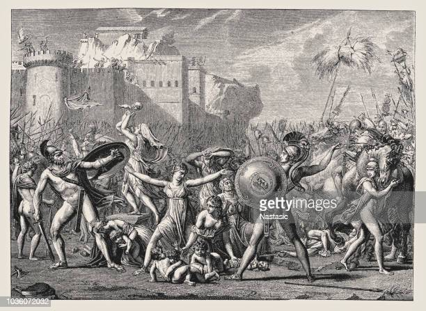 sabines by david - renaissance stock illustrations