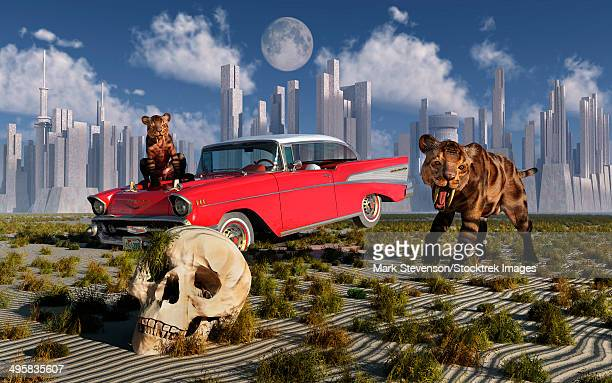 Sabre-toothed tigers from the Pleistocene Era find a 1950's American Chevrolet and signs of an advanced civilization.