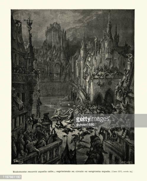 中世の都市のサック、ロドモンテは彼の血まみれの剣を振り回す - 大量殺人点のイラスト素材/クリップアート素材/マンガ素材/アイコン素材