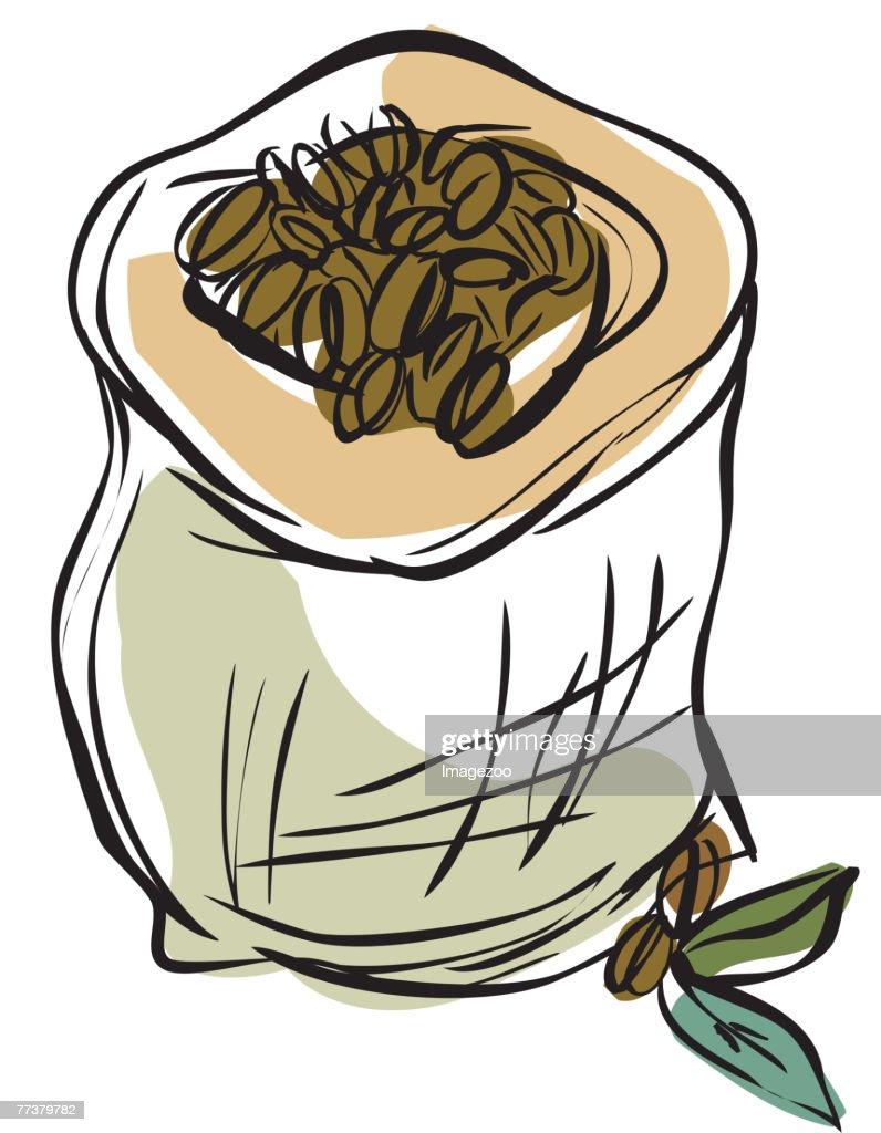 sack of coffee beans : Illustration