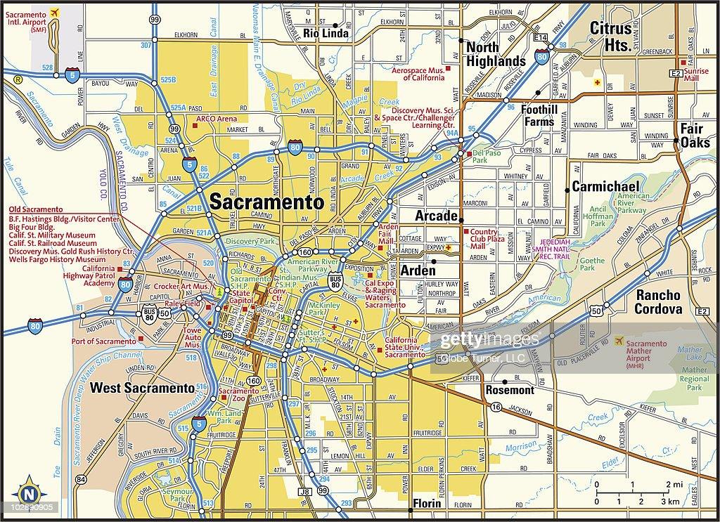 Sacramento California Area Map Vector Art Getty Images