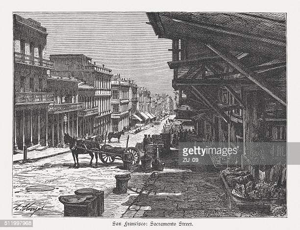 Sacramento Street, San Francisco, USA, wood engraving, published in 1880