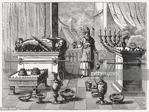 Sacred Devices of Tabernacle (Exodus 37), wood engraving, published 1886