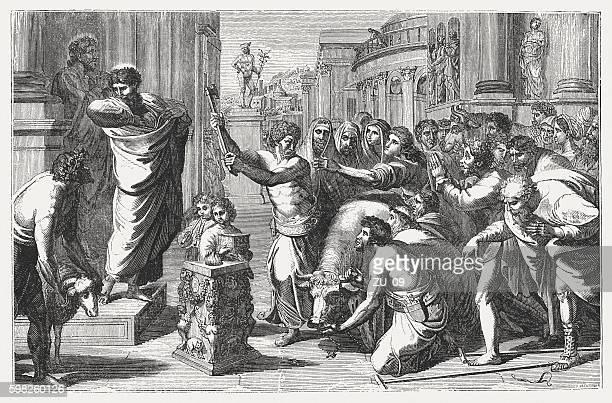 sacrifice at lystra (acts 14), wood engraving, published in 1855 - paul the apostle stock illustrations