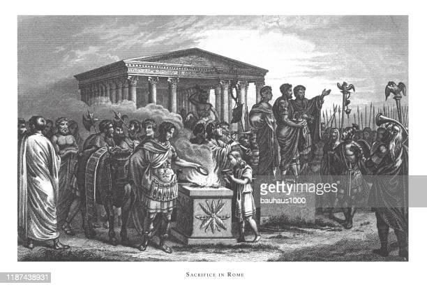 ilustraciones, imágenes clip art, dibujos animados e iconos de stock de sacrificio en roma; dioses y personajes mitológicos grabado ilustración antigua, publicado en 1851 - roman goddess