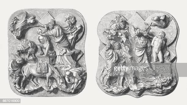 sacrifice of isaac, italian early renaissance reliefs, florence, published 1884 - bas relief stock illustrations